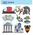 Greece travel tourism landmark symbols and greek vector image