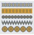 Set of pixel ethnic seamless border ornament vector image