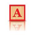 letter A wooden alphabet block vector image