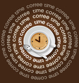 a cup of clock in cappuccino vector image