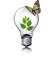 Eco light bulb with a butterfly vector image