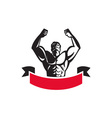Body Builder Flexing Muscles Banner Retro vector image