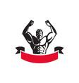 Body Builder Flexing Muscles Banner Retro vector image