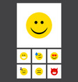 flat icon expression set of sad grin asleep and vector image