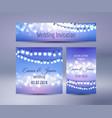 lights bokeh and garlands wedding cards vector image