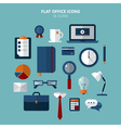Office Icons Set in Flat Style vector image