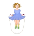 Young girl jumping skipping rope vector image