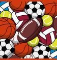 balls sport game various seamless pattern vector image