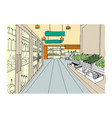 supermarket interior hand drawn colorful vector image