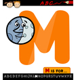 letter m with moon cartoon vector image vector image