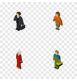 isometric people set of female lady plumber and vector image