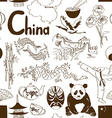 Sketch Chinese seamless pattern vector image