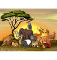 Wild animals in the savanna field vector image