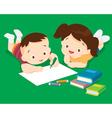 Cute boy and girl drawing vector image