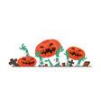 flat halloween pumpkin and zombies hands vector image