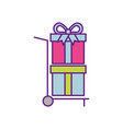hand cart delivery with gift boxes shopping vector image