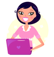 Office woman working with pink Laptop vector image