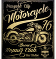 vintage motorcycle hand drawn grunge vintage with vector image