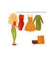 woman choosing dress during shopping girl buying vector image