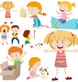 Many children doing different activities vector image