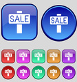 Sale price tag icon sign A set of twelve vintage vector image