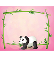 A panda and the empty bamboo frame vector image