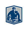 Canine Policeman With Police Dog Retro vector image