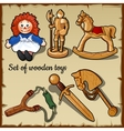Wooden toys for all children play set vector image
