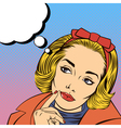 Woman Thinking Pretty Girl Doubts Pop Art vector image