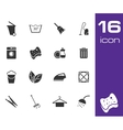 black cleaning icons set on white background vector image