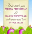 Christmas greeting on old paper with fir in vector image