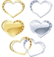 Set of gold and silver heart vector image