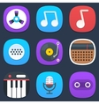 Set of sound and music mobile icons in flat design vector image