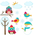 Set of winter elements vector image vector image