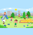 group of kids playing at the playground vector image vector image