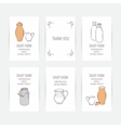 Business card set with milk icons Hand drawn vector image