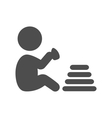 Baby plays with pyramid pictogram flat icon vector image