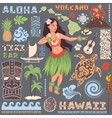 Retro set of Hawaiian icons and symbols vector image vector image