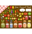 Set of fruit and vegetables for jam and canned vector image vector image