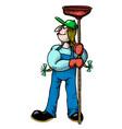 cartoon image of female plumber vector image