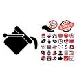 Paint Bucket Flat Icon with Bonus vector image