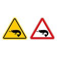 Warning sign attention shrimp Hazard yellow sign vector image