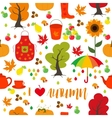 Seamless Autumn pattern background Set design vector image