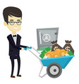 business man depositing money in bank in safe vector image