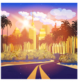 city at sunrise vector image