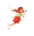 cartoon fairy with red hair and flower shaped vector image