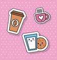 kawaii coffee cup milk cookie breakfast vector image