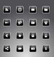 Set of black icons with silver outline vector image