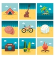 Summer flat icons set vector image