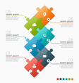 infographic template with 6 puzzle sections vector image